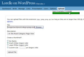 wordpress 1.6 upload panel