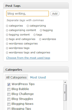 WordPress tags and categories