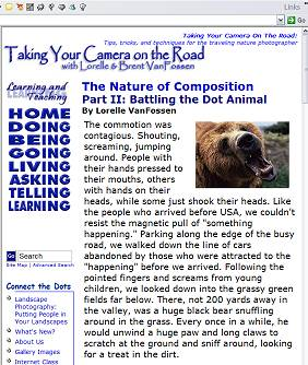Taking Your Camera on the Road - Website Design 2004