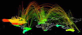 Cybergeography - visualizing web communications