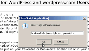Entering tag names for Technorati tagging bookmarklet
