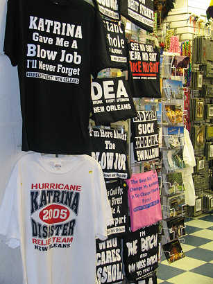Hurricane Katrina Disaster T-shirts on sale on Bourbon Street in New Orleans, photo by Lorelle VanFossen