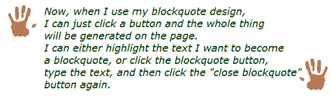example of blockquotes with hands from Taking Your Camera on the Road