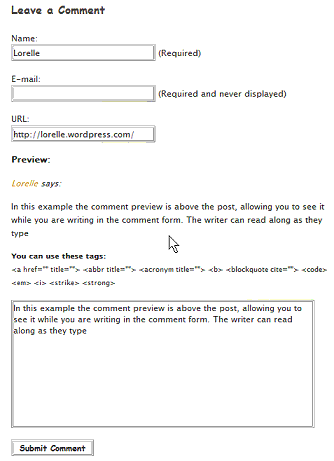 Comment Live Preview featuring preview form below visually connected to the comment form above