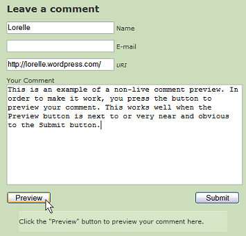 Comment Preview featuring a comment preview button to click to see the comment preview