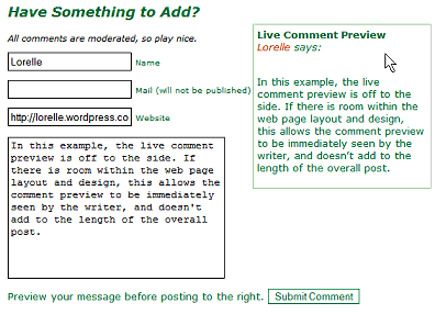Comment Live Preview featuring preview form on the side of the comment form