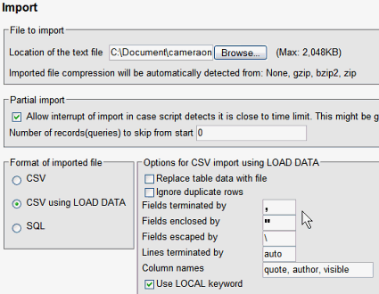 Import into Database Table Load Data in phpMyAdmin
