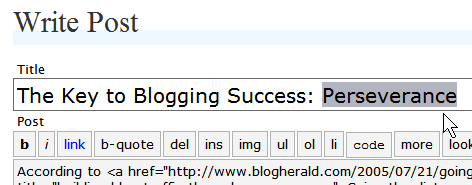 Write Post Title section