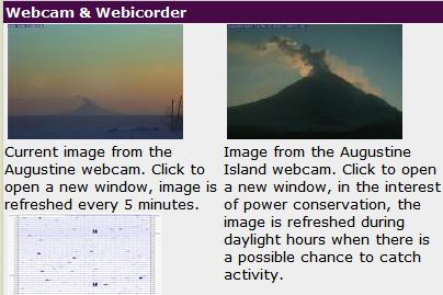 Alaska Volcano Observatory - Augustine Volcano Watch Web cam