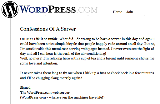 Wordpresscom - Life is unfair server error message