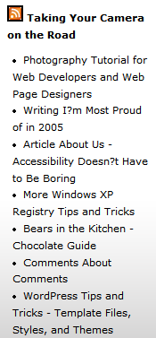Example of a sidebar widget feed