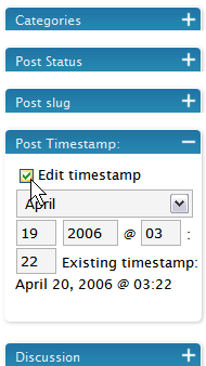 WordPress Administration Panels - Write Post Time Datestamp