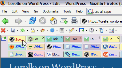 Screen capture of many rows of tabs in the Firefox browser.