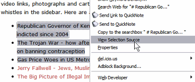 Firefox View Selection Source feature - Right Click menu