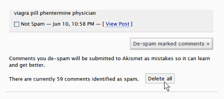 Akismet new buttons to fight comment spam at bottom of panel