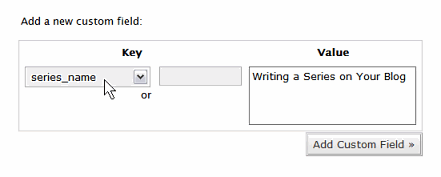 Using the Custom Fields in the Write Post Panel to designate a post in a series