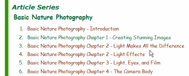 Example of article series table of contents