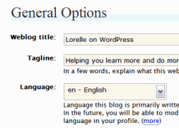 WordPress Administration Panels - Options - Choosing a Language for your WordPress blog