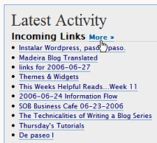 WordPress Dashboard - Latest Activity incoming links