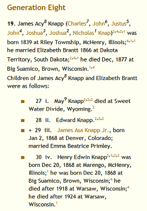 Knapp Family Generation Tree, from the family history blog by Lorelle