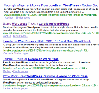 Google Search Engine results for Lorelle on WordPress showing how excerpts are used