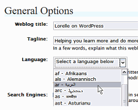 WordPress Language Options panel