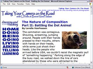 Taking Your Camera on the Road web page design and layout circa 2000