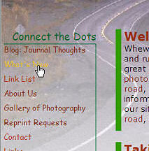 Taking Your Camera on the Road web page design sidebar layout circa 2004