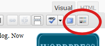 WordPress visual editor buttons - button to see second row of buttons