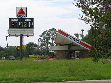 Citco Gas Station on Daulphin Island Parkway, Mobile, Alabama, One Year After Hurricane Katrina, 2006, photograph copyright Lorelle VanFossen