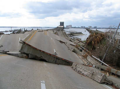 Highway 98 between Ocean Springs and Biloxi, Mississippi, destroyed by Hurricane Katrina, photograph copyright Lorelle VanFossen
