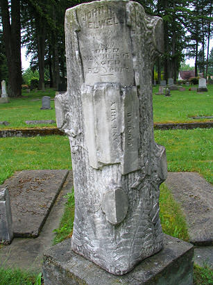 Memorial Tombstone for John Elwell, Monroe, Washington, photograph by Lorelle VanFossen