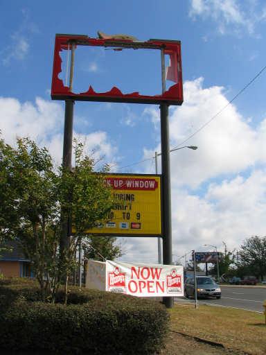 Wendys Burgers Sign destroyed, photograph copyright Lorelle VanFossen