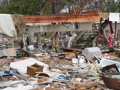 Yacht Club and Apartment Building completely destroyed by Hurricane Katrina, photograph copyright Lorelle VanFossen