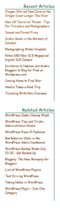 Example of post titles used in the sidebar featuring the most recent and related posts