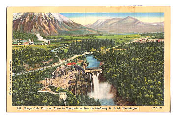 Snoqualmie Falls, Washington, circa 1940, post card