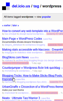 Post titles and Blog titles on del.icio.us social bookmarking service