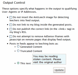 AntiLeech WordPress Plugin Output Control stopping splogs and content theft