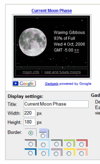 Google Gadgets - Customizing the Moon Phase Gadget