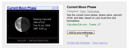 Google Gadgets - the Moon Phase Gadget