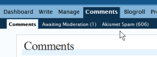 WordPress Comments - Number of awaiting comments in moderation and comment spam
