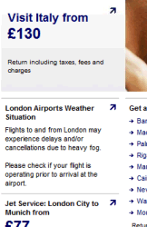 UK version of Lufthansa site