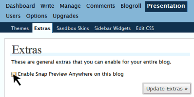 To activate or remove and stop Snap Preview Feature in WordPress.com blogs