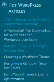 Sidebar WordPress blogroll example