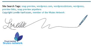 Lorelle's custom signature block