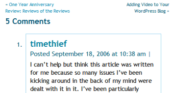 Example of a comment in WordPress