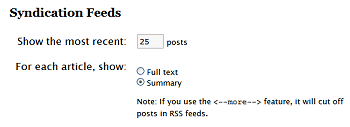 WordPress Options Reading - Controlling feed length