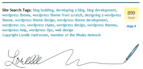 Example of putting the Digg this button in my blog's signature and tags section