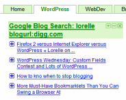 Example of Google Blog Search Feed in Google Personalized Homepages Feed Reader
