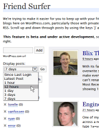 Example of Friend Surfer feature in WordPress.com blogs